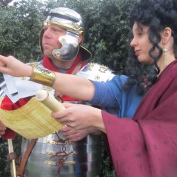 Roman School Workshops - Andy and Alison dressed in Roman Outfits