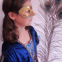 mofh tudor girl mask peacock colour